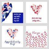 Walentynki ` s dnia karty set royalty ilustracja