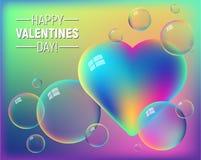 Walentynki ` s dnia kolorowy abstrakcjonistyczny tło z tęczy sercem i jaskrawymi bąblami ilustracji
