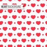 Walentynki ` s dnia kropki w jaskrawym czerwonym kolorze na białym tle i serca, bezszwowy wzór również zwrócić corel ilustracji w Obraz Royalty Free