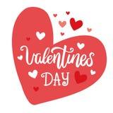 Walentynki ` s dnia literowania ręka rysująca wektorowa pocztówka Słowa i serca ilustracyjni Fotografia Stock