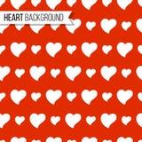 Walentynki ` s dnia serca na jaskrawym czerwonym tle, bezszwowy wzór również zwrócić corel ilustracji wektora Romantyczny tekstur Obrazy Royalty Free