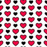 Walentynki ` s dnia serca w czarnym i czerwonym kolorze na białym tle, bezszwowy wzór Wakacyjna wektorowa ilustracja Obrazy Royalty Free