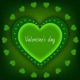 Walentynki ` s dnia serca zieleń na zielonym tle Zdjęcie Stock