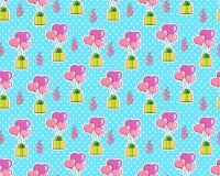 Walentynki ` s dnia sercowaci balony na polki kropki tle, bezszwowy wzór również zwrócić corel ilustracji wektora romantyczna tek Obraz Stock