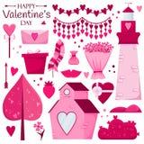 Walentynki ` s dnia set Różowy dom, cukierek, prezent, kwiaty, drzewa ilustracji