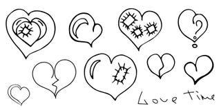 Walentynki ` s dnia set Serca i romantyczny literowanie Odizolowywający dalej ilustracja wektor