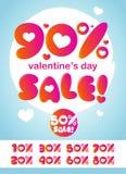 Walentynki ` s dnia sprzedaży I rabata liczby projekt Z miłość symbolem ilustracja wektor