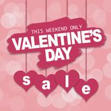 Walentynki ` s dnia sprzedaży oferta, sztandaru szablon fotografia royalty free