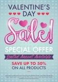 Walentynki ` s dnia sprzedaży Specjalnej oferty projekta układu szablon Z Ślicznymi menchiami Barwi ilustracji