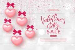 Walentynki ` s dnia sprzedaży sztandar Piękny tło z Realistycznymi sercami na Drewnianej teksturze Wektorowa ilustracja dla Zdjęcia Royalty Free