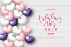 Walentynki ` s dnia sprzedaży sztandar Piękny tło z Realistycznymi sercami Wektorowa ilustracja dla strony internetowej, plakatów Fotografia Stock