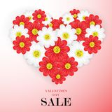 Walentynki ` s dnia sprzedaży tło z pięknymi kwiatami, wektor ja Obrazy Royalty Free