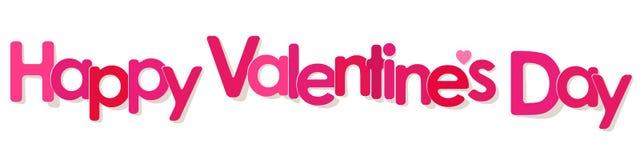 Walentynki ` s dnia sztandaru menchii listy na białym tle ilustracja wektor