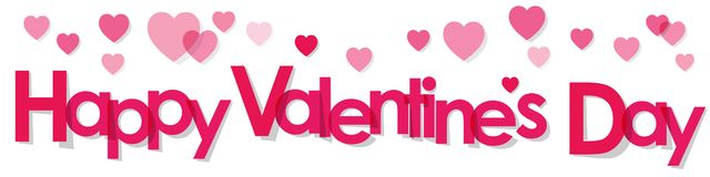Walentynki ` s dnia sztandaru menchii listy na białym tle royalty ilustracja
