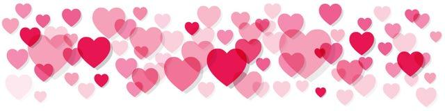 Walentynki ` s dnia sztandaru menchii serca na białym tle ilustracja wektor