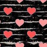 Walentynki s dnia tło Grunge muśnięcie muska serca i Paskuje Bezszwowego wzór Miłość ilustracja wektor