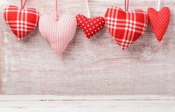 Walentynki ` s dnia tło z serce dekoracjami Zdjęcie Stock