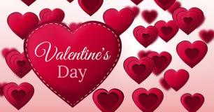 Walentynki ` s dnia tekst i Zaszyte walentynki Kierowi Zdjęcia Stock