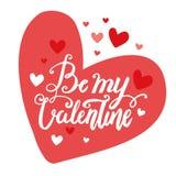 Walentynki ` s dnia wektoru muśnięcia literowania ręka rysująca pocztówka Jest mój walentynką w czerwonej kierowej ilustraci Fotografia Stock