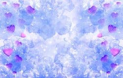 Walentynki ` s dzień, abstrakcjonistyczny purpurowy tło z różowymi sercami zdjęcie royalty free