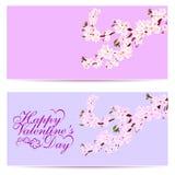 Walentynki s dzień Sakura - dwa wizytówki Dekoracyjni kwiaty wiśnia z pączkami na gałąź może używać dla royalty ilustracja