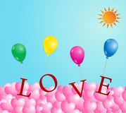 Walentynki ` s dzień z kierowego kształta Kolorowymi balonami na nieba backg Fotografia Stock