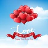 Walentynki ` s dzień z serce faborkiem na niebieskiego nieba tle i balonem ilustracja wektor