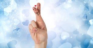 Walentynki ` s palców miłości błękita i pary serca Obraz Stock