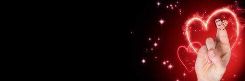 Walentynki ` s palców miłości para i iluminujący serca Zdjęcia Royalty Free
