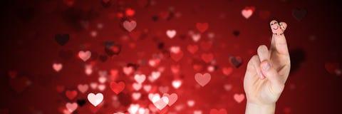 Walentynki ` s palców miłości para i lśnień lekcy serca Zdjęcie Royalty Free