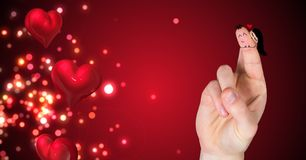 Walentynki ` s palców miłości para i lśnień rozjarzeni serca Fotografia Stock
