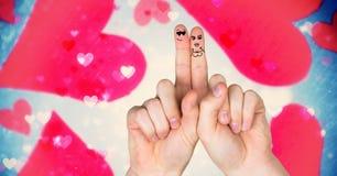 Walentynki ` s palców miłości para i magiczni spławowi serca Obraz Stock