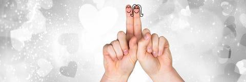 Walentynki ` s palców miłości para i popielaci serca Zdjęcia Royalty Free