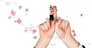 Walentynki ` s palców miłości para i serca rozpraszający Zdjęcie Royalty Free
