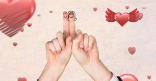 Walentynki ` s palców miłości para i spławowi serca Zdjęcie Royalty Free