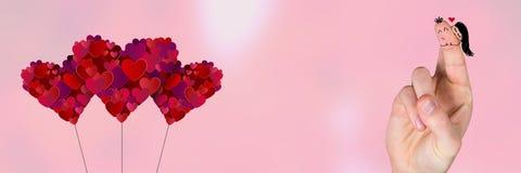Walentynki ` s palców miłości serca i para Fotografia Stock