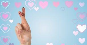 Walentynki ` s palców miłości serca w tle i para Zdjęcie Stock