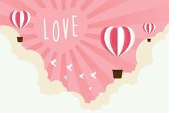 Walentynki serca balonu latanie na niebo abstrakta backgroun Zdjęcia Stock