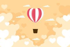 Walentynki serca balonu latanie na niebo abstrakta backgroun Obraz Stock