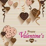 Walentynki serca i dnia czekolada Bawi się na kolorowym tle Wektor Partyjna Kierowa czekolada i pełny serce na kolorowym Backgrou Fotografia Stock