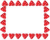 Walentynki serca rama lub granica Zdjęcie Stock