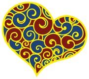 Walentynki serce deseniujący kwiecisty ornament Ilustracja Wektor