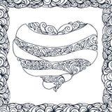 Walentynki serce i doodle ornament z faborkiem, krzywy, rama ilustracji