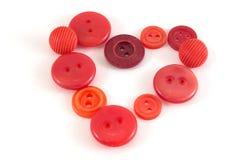 Walentynki serce kolorów guziki Różnorodni szy guziki ustawiający dalej Fotografia Royalty Free