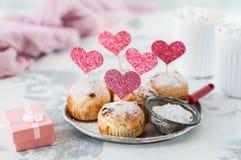 Walentynki Sultana babeczki zdjęcie stock
