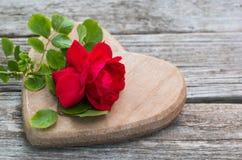 Walentynki tło, drewniany serce, Czerwone róże, walentynki miłość Fotografia Stock