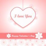 Walentynki tło różowy wektor - serce i kwiaty - Obraz Royalty Free