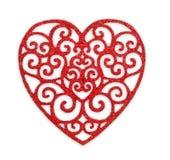 Walentynki tło, wzorzysty drewniany serce odizolowywający Obraz Royalty Free