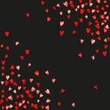 Walentynki tło z menchii błyskotliwości sercami Luty 14th dzień Wektorowi confetti dla valentine tła szablonu Zdjęcia Stock