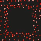 Walentynki tło z menchii błyskotliwości sercami Luty 14th dzień Wektorowi confetti dla valentine tła szablonu Obraz Stock